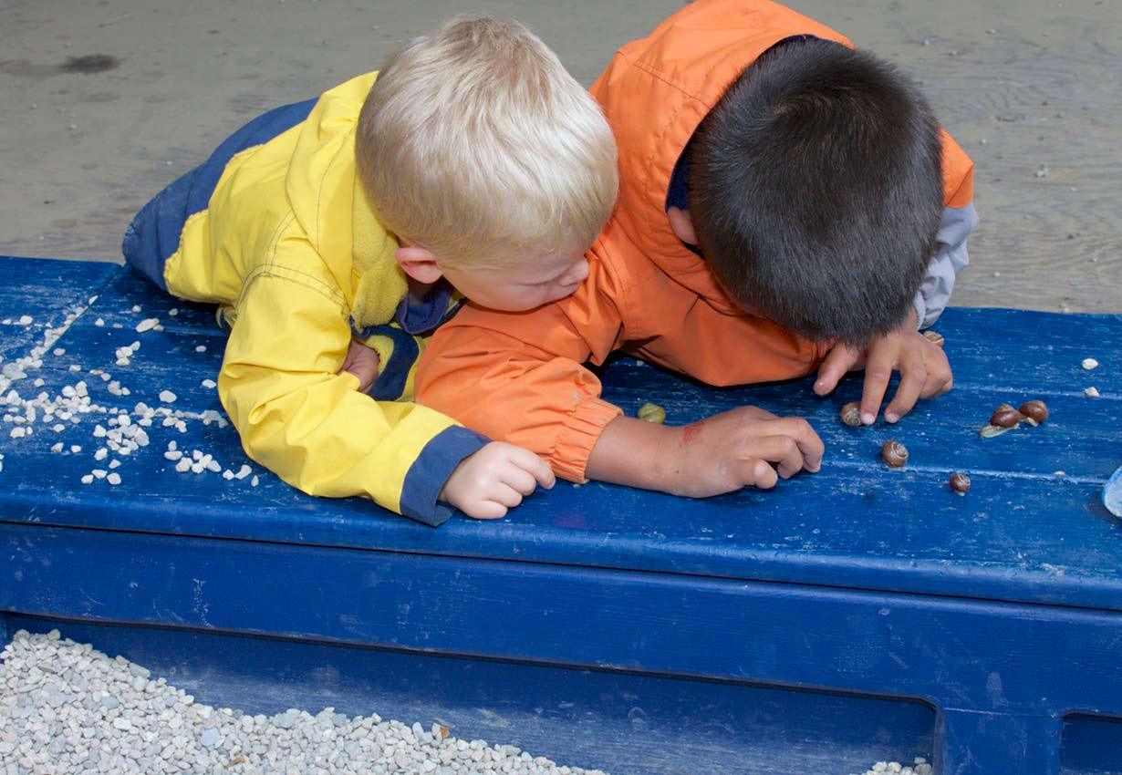two children looking at snails on a blue bench