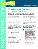 BC Budget 2018: First Steps on $10aDay Child Care <br /> (Oct. 2017)