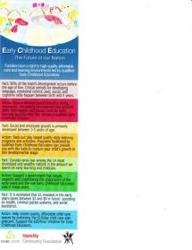 Early Childhood Education: The Future of Our Nation Rack Card